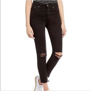 Levi's Black Distressed Wedgie Skinny Jeans Size 26